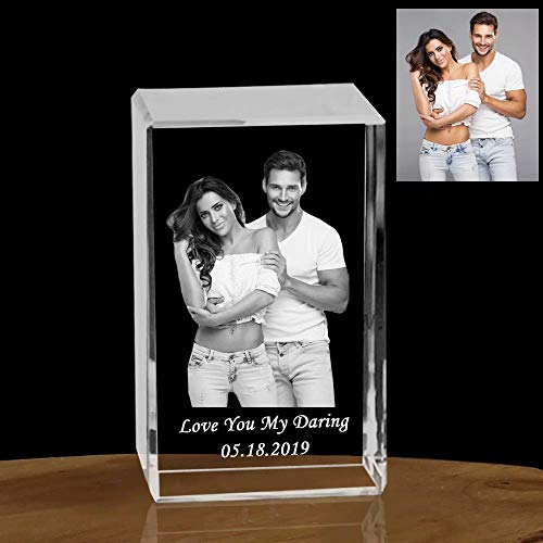 Custom Crystal Cube, Personalised 3D Laser Engraving Photo Etched Engraved Inside The Crystal with Your Own Picture-Picture in Glass Gift for Wedding Gift, Mother's Day, Christmas, Father's Day
