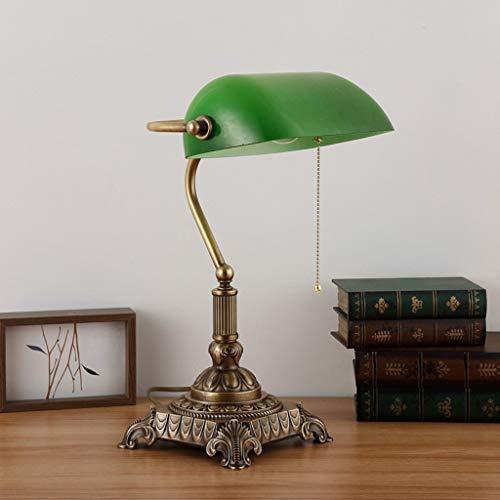 Lfixhssf tafellamp met antiek traditioneel design, eenvoudig ontwerp van banken, tafellamp met koperen voet en schaduw Emerald Green Glass (schietschakelaar) E27 Lfixhssf