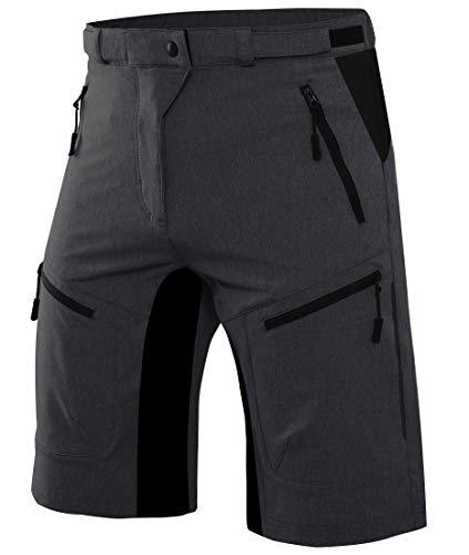Wespornow Herren MTB Kurz Hose mit Reißverschlusstaschen-Fahrradhose Schnelltrocknend Radhose Wanderhose Kurz Mountainbike Shorts Sporthose-Radlerhose(Schwarz,M)