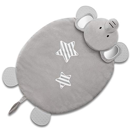 For Sale! Lifeety Character Activity Elephant Play Mat, Baby Blanket with Teether Ring, Gray