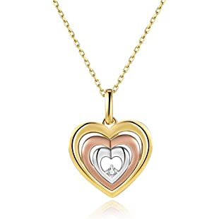 Vinjewelry Tri Color Floating Heart Necklace Cubic Zirconia Rosegold and Silver Plate 925 Sterling Silver Pendent with Gift Box for Wife Girlfriend,Mother:Greatestmixtapes