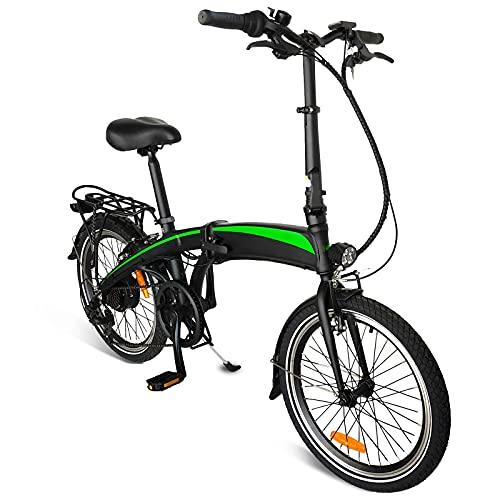 Bicicleta Eléctrica Plegable, 350W 36V 10AH/Motor Bicicleta Plegable 25 km/h, 3 Modos de conducción,Resistencia 50-55 kilómetros, Asiento Ajustable, con Pedales,Bici Electricas Adulto,