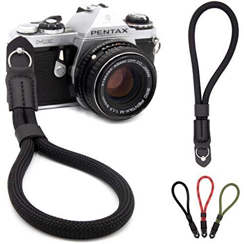Lens-Aid - Correa de muñeca para cámara – Muñequera para cámaras, Aspecto en Cuerda, Ideal para Canon, Nikon, Sony, Fujifilm, Olympus, Leica (Negro)