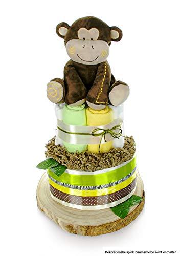 dubistda© XXL Windeltorte neutral SAFARI BABY   2-stöckig   AFFEN Spieluhr (Lullaby)   Neutrales Geschenk für Jungen und Mädchen zur Geburt Babyparty Babyshower