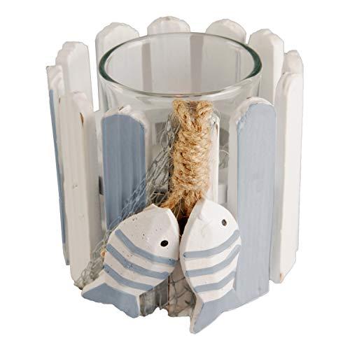 Land-Haus-Shop Fische Fischer Teelicht Windlicht Maritim Ganzjahres Deko Teelichthalter Halter