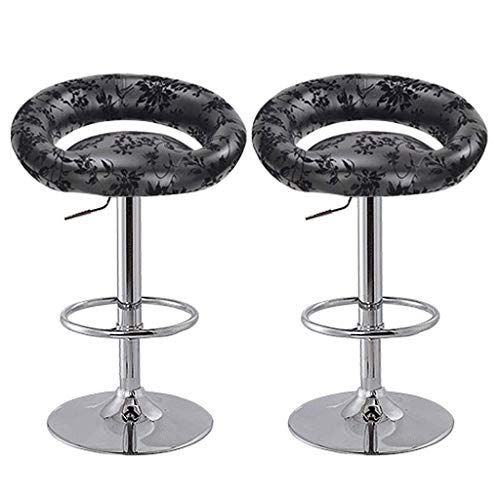 JBDAB - Set di 2 sgabelli da bar, girevoli e regolabili, in ecopelle, per colazione, cucina, con schienale a mezzaluna 1 nero.