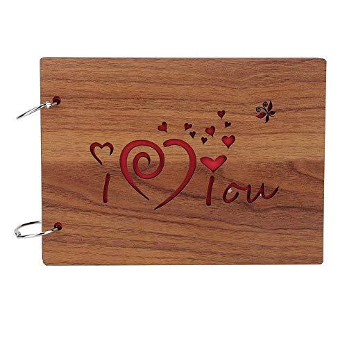 AUNMAS 8 inch handgemaakt fotoalbum met houten afdekking, losse bladen, ingevoegd, gepersonaliseerd DIY memoord, fotoboek, bureaudecoratie