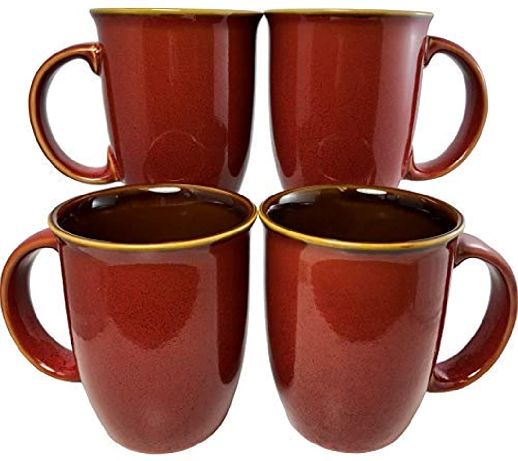 Leopard Glaze Coffee Mugs   Set of 4 (Red)   14oz Ceramic Taper Mugs   Microwave & Dishwasher Safe