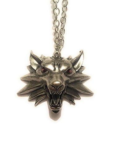 giulyscreations Collier The Witcher en métal sans nickel avec logo Loupo Wolf 3D et logo vidéo Jeu fantaisie fantaisie