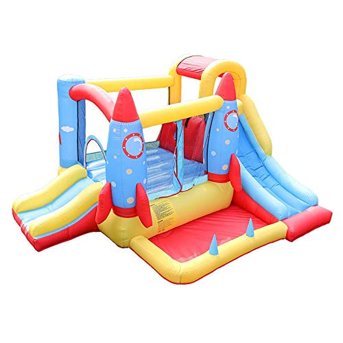 Bouncy Castle Inflatable Bouncy Castle House with Blower Trampoline House Obstacle Children Outdoor Jump Castle With Slides 340x280x185cm Playhouse Bouncer