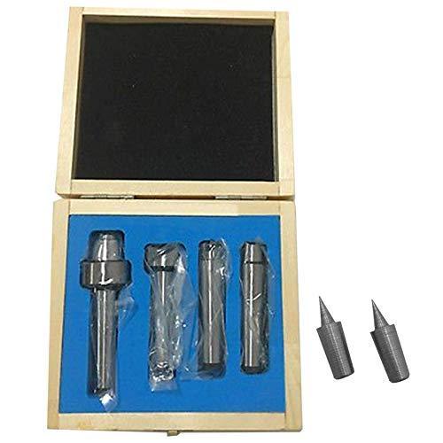 KANJJ-YU MT2 Live Center - Juego de 4 piezas con 2 puntas de repuesto extra con herramientas de caja de madera de buena calidad