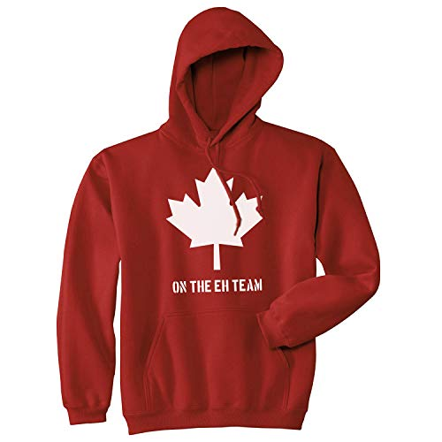 Crazy Dog Tshirts - Eh Team Canada Sweater Funny Canadian Shirts Novelty Sweaters Hilarious Hoodie (Red) - S - Homme