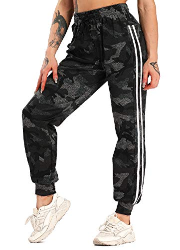 FITTOO Damen 2 Gestreift Streifen Freizeithose Jogginghose Hose Sportswear Style Camouflage L