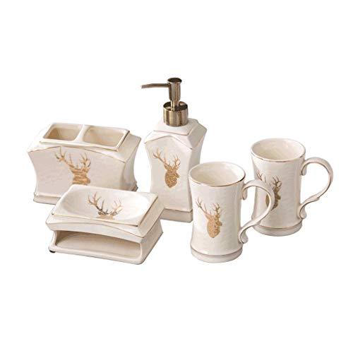 Dispensador de jabón de líquido, dispensador de jabón de baño, juego de suministros de baño, soporte para cepillo de dientes, jabonera, dispensador de loción para decoración de casa (color: B)