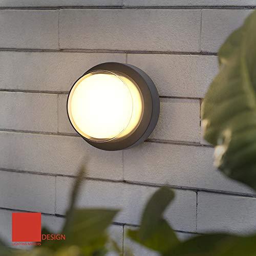 Yosoan Außenwandleuchte LED-Wandleuchte Außenlampe Wandlampe für Innen und Außen schwarz IP65 (4000K)