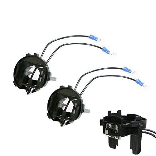 iJDMTOY (2) H7 Xenon Bulbs Holder Adapter Retainers Compatible With Volkswagen MK7 Golf GTi Routan Passat Halogen Headlights Installing Xenon LED Conversion Kit