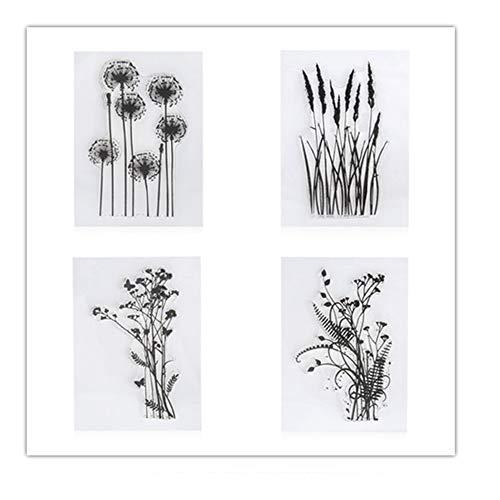 4PCS Dandelion Clear Stamps Lavender Flowers Leaves Rubber Clear Stamp/Seal Scrapbook/Photo DIY Album Decorative Card Making
