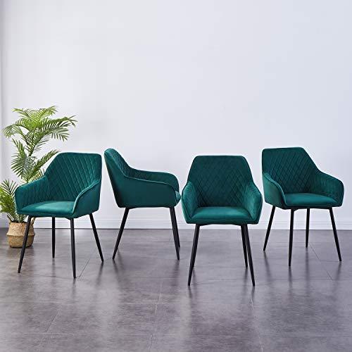 JYMTOM Esszimmerstühle 4er Set Küchenstuhl Polsterstuhl Wohnzimmerstuhl Sessel mit Rückenlehne Armlehne Metallbeine,Grün 4pc
