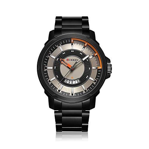 Relojes para Hombre Relojes Elegantes de Acero Inoxidable a Prueba de Agua Reloj de Cuarzo -A