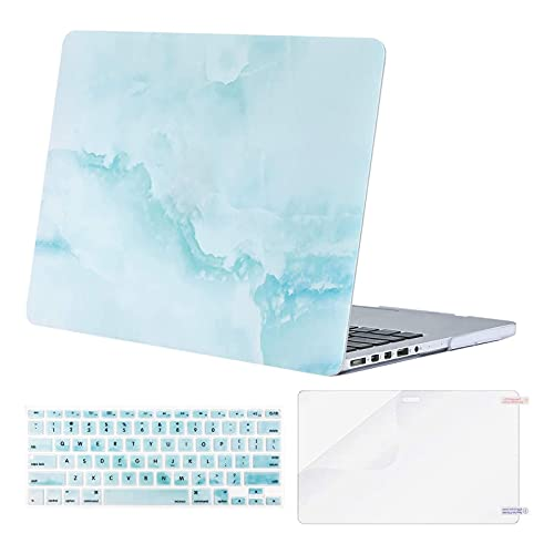 MOSISO Compatible with MacBook Pro 15 inch Case with Retina Display (model: A1398, Older Version, 2015 - end 2012 Release), Plastic Cloud Marble Hard Shell & Keyboard Cover & Screen Protector,Hot Blue
