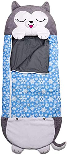 Sleeping Bag, Children Sleeping Bag Pillow & Sleepy Sack, Foldable Kids Animal Sleeping Bag Play Blanket, Fun Sleeping Bag with Pillow Nap Mat for Home Camping Birthday, 54'x 20' (Gray Husky)