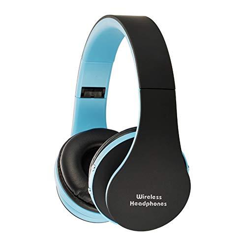 Kuizhiren1 kabellose Bluetooth-Headsets für Kopfhörer, Drahtlose Stereo-Bluetooth-Kopfhörer Faltbarer Sportkopfhörer Black-Blue