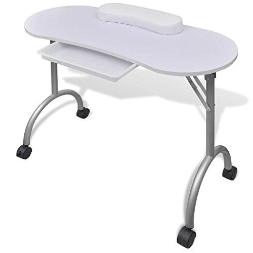 vidaXL Tavolo Pieghevole per Manicure con Ruote Bianco Unghie Tavolino Salone