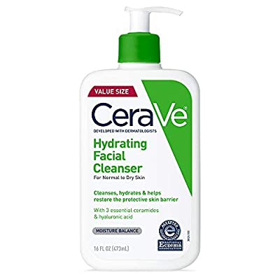 CeraVe Hydrating Facial Cleanser | Moisturizing Non-Foaming Face Wash with Hyaluronic Acid, Ceramides & Glycerin | 16 Fluid Ounce