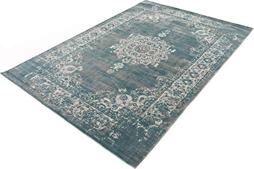 LIFA LIVING 133 x 200 cm Vintage Teppich für Wohnzimmer und Schlafzimmer, Wohnzimmerteppich mit Muster Orientalisch, Blau Grau, aus weicher Wolle