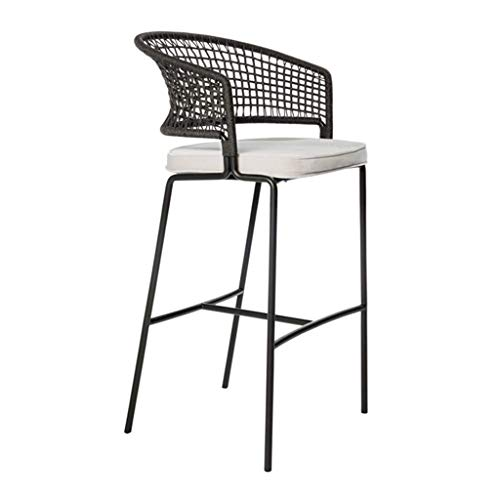N/Z Daily Equipment Bar Stool Leisure Lounge Chairs Woven Rattan Backrest Counter Height Stool for Indoor Outdoor Sun proof and Rain proof 65cm/75cm