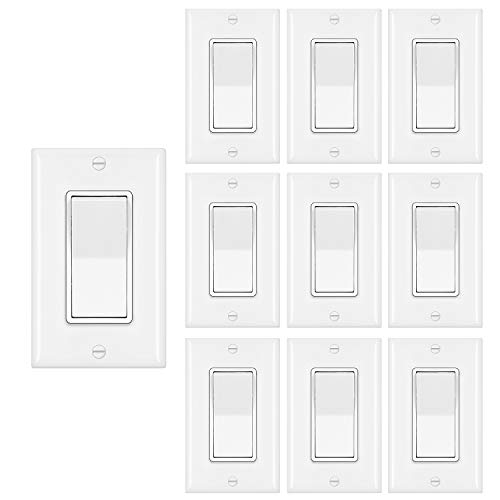 [10 Pack] BESTTEN Single Pole Decorator Wall Light Switch with Wallplate, 15A 120/277V, On/Off Rocker Paddle Interrupter for LED and other Lamps, UL Listed, White
