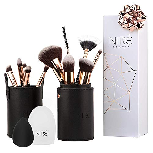 Niré Beauty Contouring, Highlighter & Concealer Pinselset mit Niré Beauty Blender, Pinselreiniger...