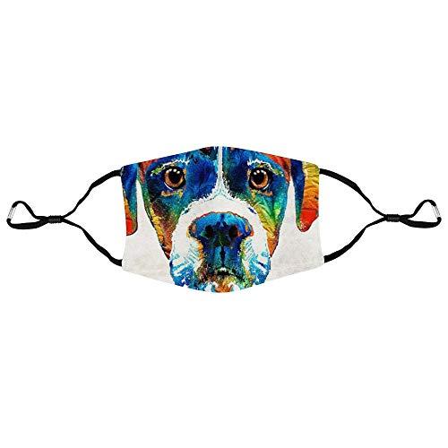 DKISEE Modische Unisex-Gesichtsmaske, bunte Hunde-Boxer-Anti-Staub-Mundmaske, verstellbare Ohrschlaufen-Gesichtsmaske, Outdoor-Schutzmaske