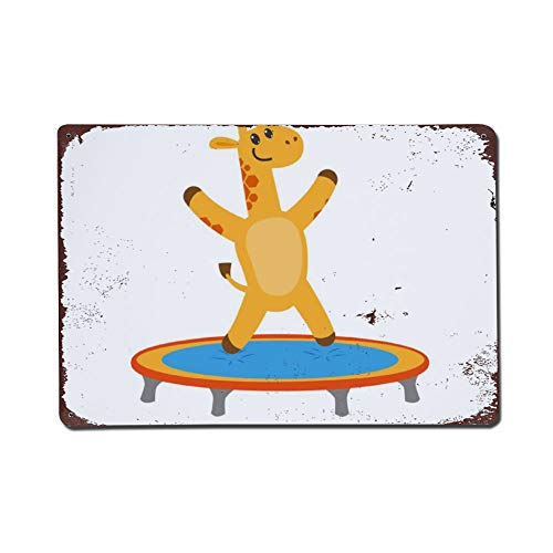 Wendana Flat Giraffe Springen Op Trampoline Metalen Tekenen Vintage Thuis Muurdecoratie Tin Tekenen Metalen Poster voor Garage Kids Kamer Kerstmis Verjaardagscadeaus