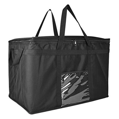"Insulated Food Delivery Bag XXL - 23x14x15"" Waterproof Grocery Storage Uber Eats, Instacart, Doordash, Grubhub, Postmates, Restaurant, Catering, Grocery Transport Dual Zipper (XXXL 1 Pack)"