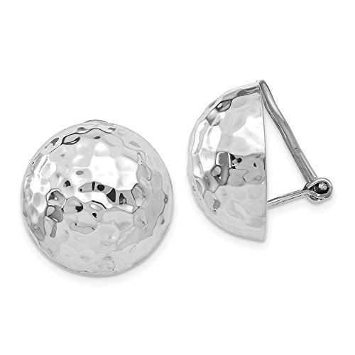 14k White Gold 18mm Hammered Non Pierced Clip On Earrings Ball Button Fine Jewellery For Women Gifts For Her