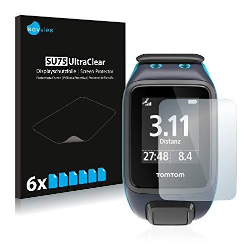 Savvies 6X Schutzfolie kompatibel mit Tomtom Runner 2 Bildschirmschutz-Folie Ultra-transparent