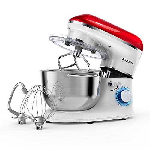 Freihafen - Robot da cucina, impastatrice da 5,5 l, con fruste, gancio di miscelazione,...