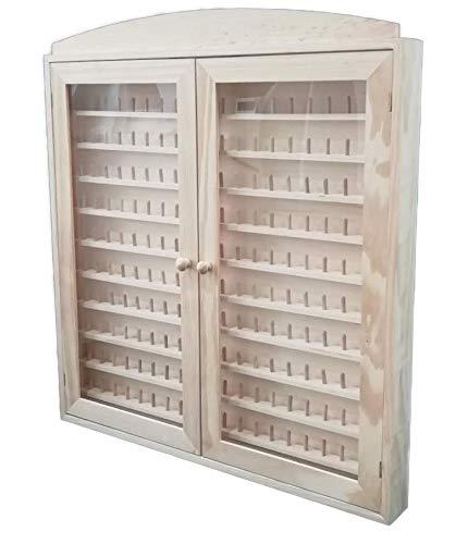 Vitrina colecciones dedales. 2 puertas Grande. Capacidad: 200 dedales. Medidas (ancho/fondo/alto): 66 * 6 * 72 cms. En madera de pino en crudo. Para pintar.