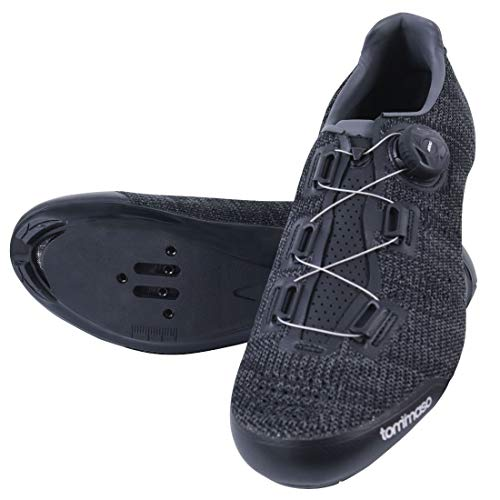 Tommaso Strada Elite Knit Quick Lace Style Road Bike Cycling Shoe, Dual Compatible with SPD, Delta, Black - 48