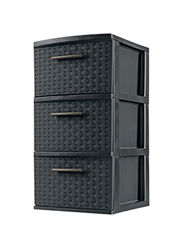 STERILITE 26306P02 Storage Tower, 3 Drawer, Espresso Weave, 15 x 12-5/8 x 24-in. - Quantity 2
