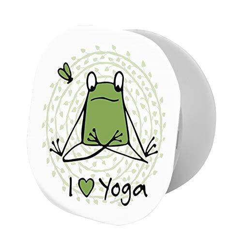 Soporte plegable para teléfono celular, divertido personaje de dibujos animados, estilo animal, con cita de I Love Yoga, soporte ajustable para teléfono móvil