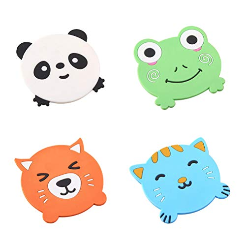 YARNOW -4 Pezzi Adorabili Cartoni Animati Animali sottobicchieri in Silicone Isolante in Gomma Morbida per Ciotola tappetini Antiscivolo (Colore Misto)