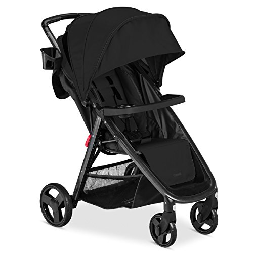 Combi Fold N Go Baby Stroller | Compact & Lightweight | One Hand Quick Fold | Superlight 16 lb Full Size Stroller in Lightweight Package | XL Canopy | Front Suspension & Reclining Seat | Black
