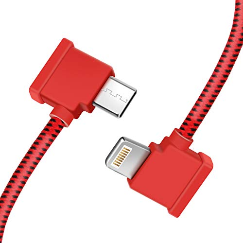 LYONGTECH USB C to IOS 11.8 Inch Nylon Braided Cable for DJI Mini 2/Mavic Air 2 Remote Controller,1FT OTG Tablet Phone Long Extension RC Data Cord(iOS Connector RED)