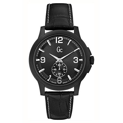 Guess GC para Hombre Casual Swiss Made All Negro SS de Piel Reloj x82006g2s