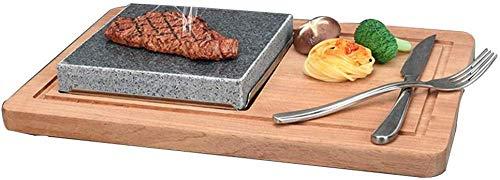Juego de platos de piedra de lava natural para bistec a la parrilla, juego de bistec para cocinar con parrilla de piedra caliente, sartén de piedra volcánica de lava (sin incluir cuchillo y tenedor)
