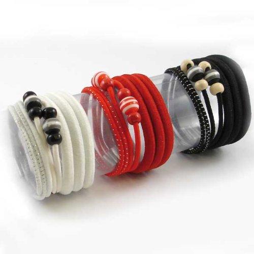 Cheveux liens (Noir, Rouge, Blanc Lot de 22)