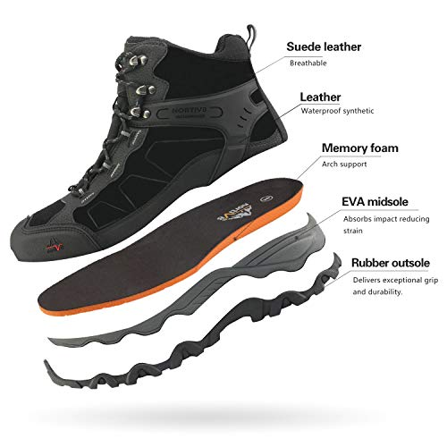 NORTIV 8 Men's Waterproof Hiking Boots Outdoor Mid Trekking Backpacking Mountaineering Shoes Black Size 6.5 US JS19004M