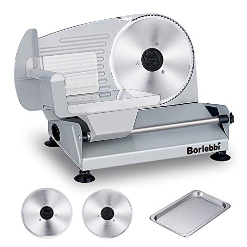 Meat Slicer, 200W Electric Food Slicer with Two Removable 7.5 Stainless Steel Blades&One Stainless Steel Tray, Child Lock Protection, Adjustable Thickness, Food Slicer Machine for Meat Cheese Bread